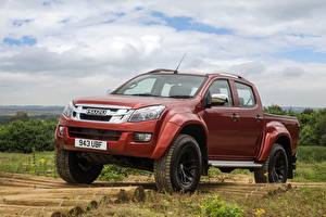 Wallpaper Isuzu Red Metallic Pickup 2016, Arctic Trucks, D-Max, UK version, AT35 automobile
