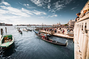 Bilder Italien Boot Schiffsanleger Himmel Venedig Städte