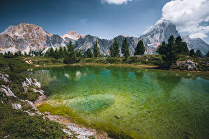Wallpaper Italy Lake Mountains Trees Lago Limides