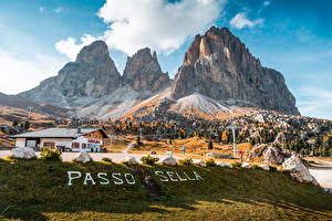 Images Italy Mountains Lettering Alps Passo Sella, Dolomites
