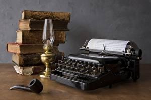 Wallpaper Paraffin lamp Book Table Tobacco pipe, Typewriter