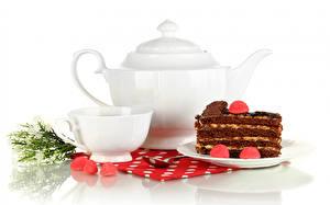 Hintergrundbilder Flötenkessel Törtchen Marmelade Weißer hintergrund Tasse