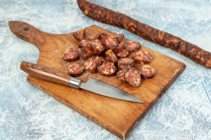 Picture Knife Sausage Cutting board Sliced food