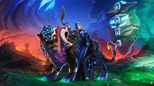 Wallpapers Luna Warrior Magical animals DOTA 2 vdeo game Girls
