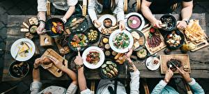Picture Many From above Plate Frypan Hands Table Food