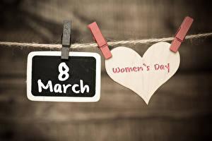 Фотографии Международный женский день Боке Сердечко Английская Слова Прищепки