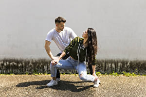 Wallpaper Men Two Dance Brunette girl Jeans young woman