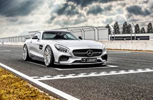 Wallpaper Mercedes-Benz Silver color Start AMG C190 GT-Class automobile