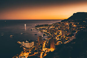 Wallpapers Monaco Coast Monte Carlo Houses Night From above Cities