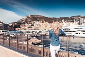 Fonds d'écran Monaco Yacht Monte-Carlo Clôture Arrière Blondeur Fille Villes