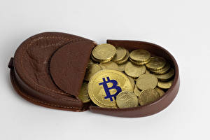 Wallpapers Money Coins Bitcoin Gray background Wallet