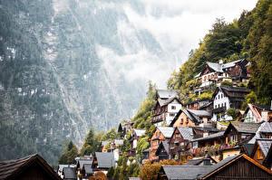 Hintergrundbilder Gebirge Österreich Hallstatt Dorf Nebel