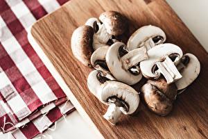 Fotos Pilze Zucht-Champignon Schneidebrett Geschnitten