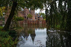 Fonds d'écran Pays-Bas Château fort Étang Branche Clôture Castle De Haar Villes