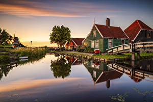 Photo Netherlands Houses Sunrises and sunsets Canal Museums Zaanse Schans Zaandam