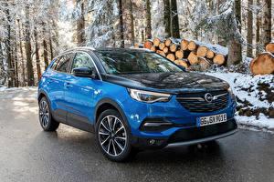 Fonds d'écran Opel Bleu ciel Métallique Véhicule hybride 2019-20 Grandland X Hybrid4