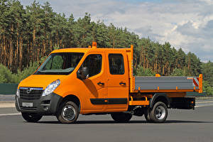 Hintergrundbilder Opel Lastkraftwagen Orange 2010-20 Movano Double Cab Chassis