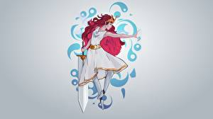 Picture Painting Art Warrior Swords Frock Gray background Aurora, Child of Light, by Guilherme de Abreu young woman
