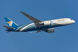 Tapety na pulpit Samoloty Samolot pasażerski Boeing Widok z boku Oman Air, 787-8