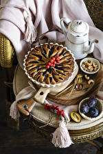 Images Baking Pie Plums Nuts Berry Still-life