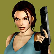 Fotos Tomb Raider Pistolen Tomb Raider Legend Lara Croft Mädchens 3D-Grafik