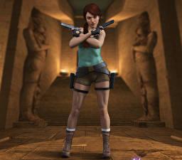 Hintergrundbilder Tomb Raider Pistolen Tomb Raider Legend Lara Croft Spiele 3D-Grafik Mädchens