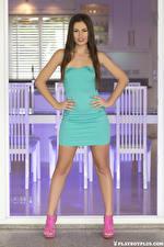Fondos de escritorio Playboy Demi Fray Posando Vestido Mano Pelo castaño mujer joven