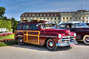 Picture Plymouth Vintage Maroon 1950 Woody automobile