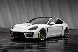 Bilder Porsche Weiß Metallisch Panamera, GTR auto