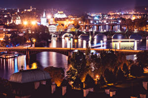 Images Prague Czech Republic Rivers Bridges Night