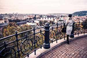 Wallpaper Prague River Czech Republic Building Fence Cities Girls