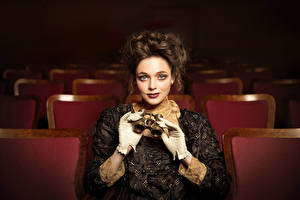 Image Vintage Glove Frock Hairdo Brown haired Staring  young woman