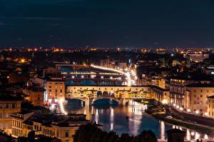Hintergrundbilder Fluss Brücken Italien Florenz Nacht Arno River, Ponte Vecchio