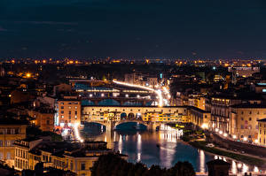 Wallpapers River Bridges Italy Florence Night time Arno River, Ponte Vecchio