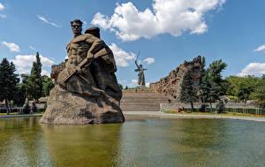 Fotos Russland Park Teich Denkmal Stiege Wolgograd Mamayev Kurgan