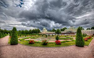 Fotos Russland Sankt Petersburg Park Rose Palast Design Rasen Strauch HDRI Oranienbaum Palace Lomonosov