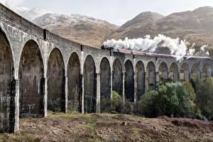 Images Scotland Trains Bridge Smoke Glenfinnan Viaduct