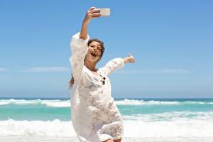 Photo Sea Summer Joy Selfie Rest Windy Girls