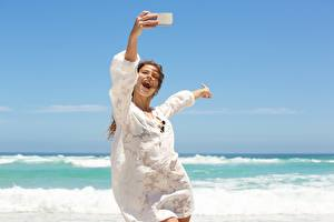 Photo Sea Summer Joy Selfie Rest Windy Girls