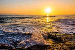 Hintergrundbilder Meer Sonnenaufgänge und Sonnenuntergänge Wasserwelle Sonne