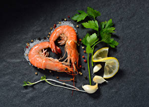 Pictures Caridea Lemons Garlic Black pepper Gray background Heart Salt Food