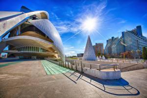 Bakgrunnsbilder Himmelen Spania Solen Gate HDR Valencia, Ciudad de las Artes y las Ciencias en by