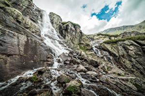 デスクトップの壁紙、、スロバキア、滝、石、山、岩石、Waterfall Skok, Tatra mountains、