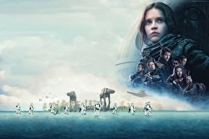 Bakgrundsbilder på skrivbordet Star Wars (Film) Rogue One: A Star Wars Story Felicity Jones Klonsoldat film Kändisar