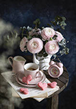 Wallpapers Still-life Lisianthus Coffee Clock Notes Cup Heart Pitcher Food Flowers
