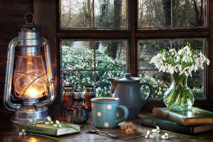 Wallpapers Still-life Galanthus Paraffin lamp Kettle Vase Mug Sugar Spoon Books Window Food Flowers