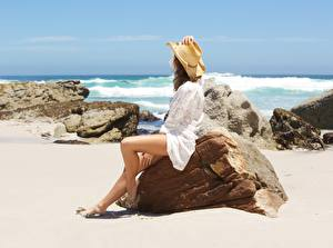 Wallpaper Stone Sea Summer Sand Sit Legs Hat Resting young woman