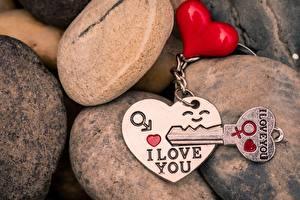 Bakgrunnsbilder Stein Valentinsdagen Hjerte Nøkkel I love You