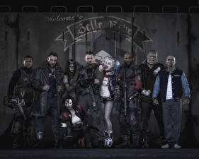 Image Suicide Squad 2016 Jared Leto Superheroes Man Joker hero Will Smith Harley Quinn hero Deadshot, Captain Boomerang, Rick Flag, El Diablo, Killer Croc, Slipknot, Enchantress, Katana film Celebrities