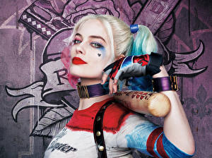 Picture Suicide Squad 2016 Margot Robbie Harley Quinn hero Baseball bat film Celebrities Girls
